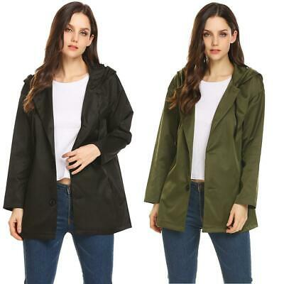 Women Hooded Long Sleeve Button Down Solid Casual Loose Fit Trench Coat CLSV