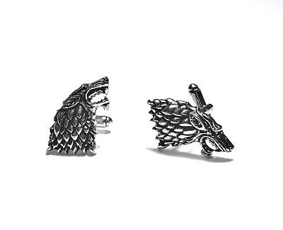 Game Of Thrones Solid, Silver Cufflinks - House Stark Novelty High Quality Gift