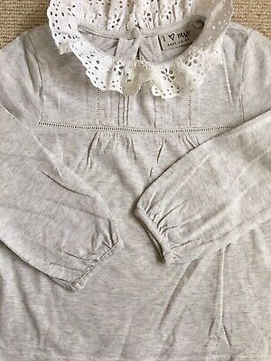 Girls Ruffle Neck Grey And White Blouse By Next Age 2-3