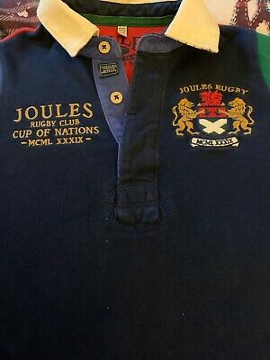 Boys Joules Rugby Style Shirt Top Age 5/6 Years Long Sleeve Trendy With Jeans