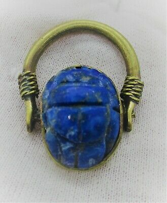 Ancient Egyptian Lapis Scarab Bead Set In A Gold Gilded Swivel Ring