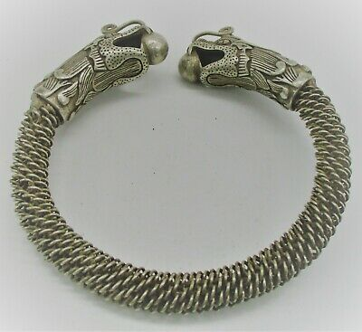 Beautiful Ancient Viking Style Silver Twisted Bracelet With Dragon Heads