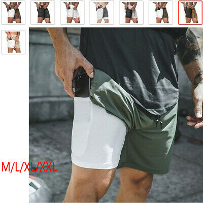 2 in 1 Men With Pocket Running GYM Fitness Quick Dry Short Pants Sports Shorts