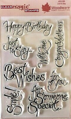 Woodware Just To Say With Love Happy Birthday 8 Pce Clear Stamp Set Card Making
