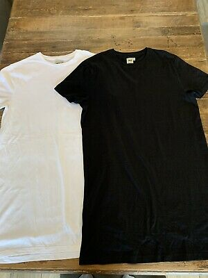 Mens Extra Long Short Sleeve T Shirts Size S Black And White