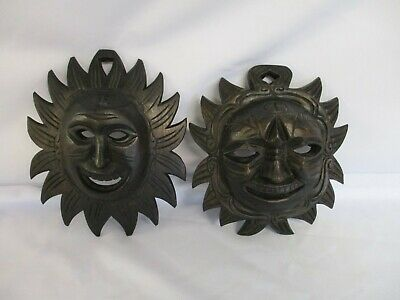 2 Dark Wood Mask Plaques, Asian, Hand Carved, 23 x 19 Cms