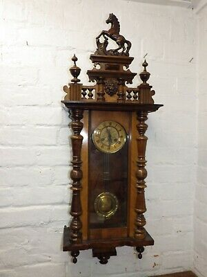 Antique Friedrich Mauthe Vienna Wall Clock With Rampant Horse And Lion Finial