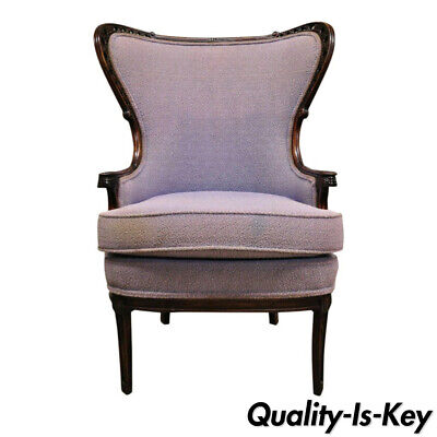 Antique French Hollywood Regency Victorian Style Mahogany Wingback Arm Chair