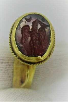 Ancient Roman High Carat Gold Ring With Carnelian Eagle Intaglio Stone Insert