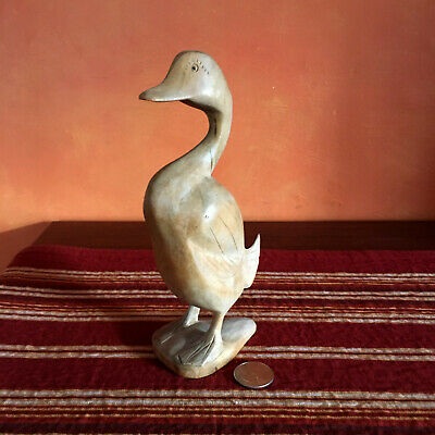 Vintage Collectible Hand Carved Wooden Standing Goose Statue Animal Figurine