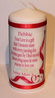 Personalised Your love is a gift poem Valentine candle for him or her #1