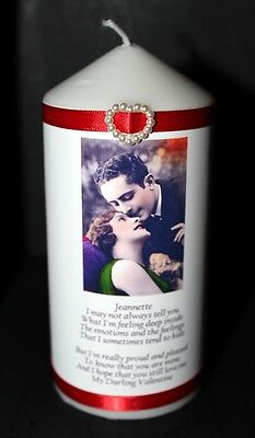 Unique Valentine  present for her him with poem personalised gift Candle #1