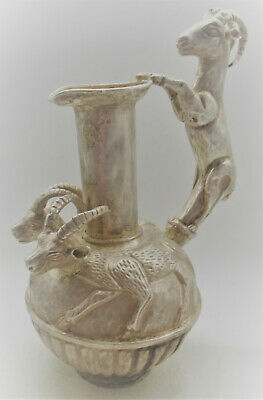 Scarce Ancient Persian Hand Beaten Silver Amphora Jug With Rams Circa 400Bc