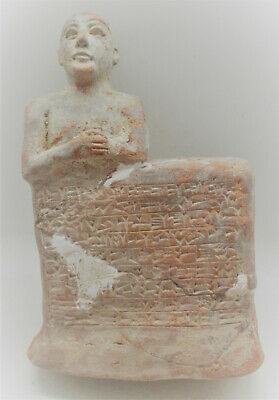 Circa 2000Bce Near Eastern Clay Tablet With Early Form Of Writing & Worshipper
