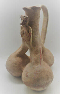 Circa 2000Bce Near Eastern Clay Jug With Handle And Worshipper Very Unusual