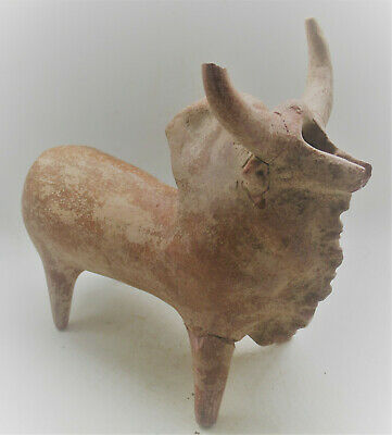 Scarce Circa 1000Bce Ancient Amlash Terracotta Bull Statue Museum Quality