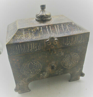 Ancient Islamic Bronze Vessel With Silver Inlay Circa 1200-1300Ad Very Beautiful