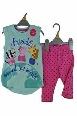 Girls Peppa Pig set top leggings aqua pink outfit