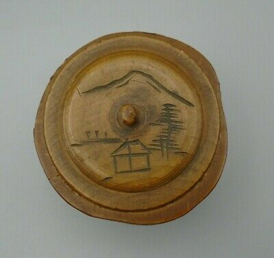 Vintage Chinese Mountain Scene Handmade Wooden Trinket Box with Lid