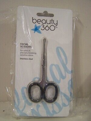 Beauty 360 Facial Scissors for Safely & Precisely Trimming Sensitive Areas LOT