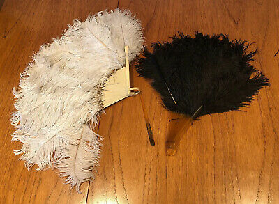 Two Vintage 1920s Celluloid Ostrich Feather hand Fans As Found Old