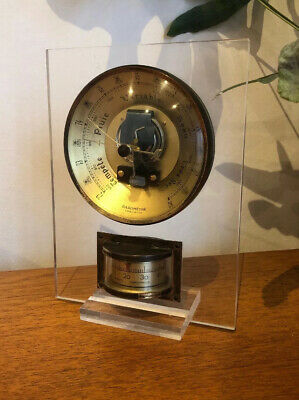 Vintage 1950s 1960s Modernist French Mallat Perspex Barometer & Thermometer