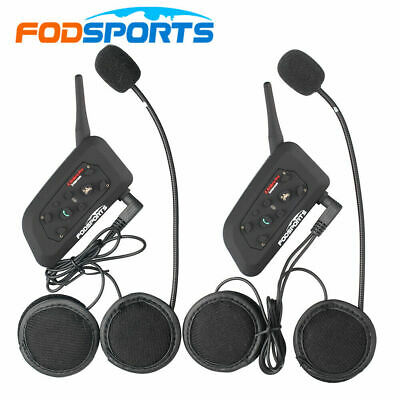 2x 1200M 6 Riders Motorrad Intercom Helm Gegensprechanlage Bluetooth Headset BT
