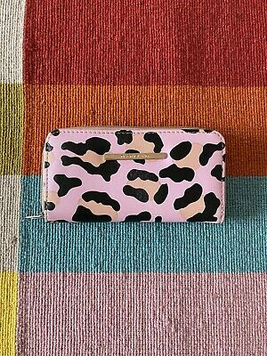 RIVER ISLAND GIRLS PINK LEOPARD PRINT PURSE with GOLD LOGO