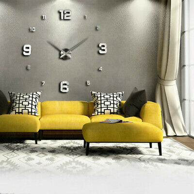 Modern 3D DIY Wall Clock Large Number Home Decoration Living Room Bedroom  G