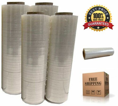 """4x Plastic Shrink Stretch Clear Wrap Packing Film Pallet Rolls 18"""" x 1500"""