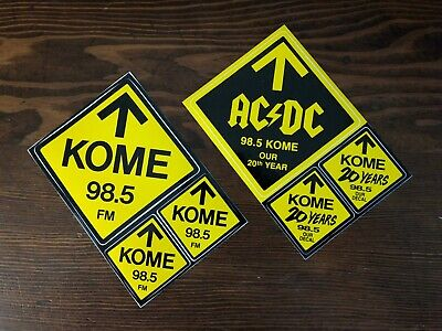 Original 98.5 FM KOME and AC/DC radio station stickers (pair)