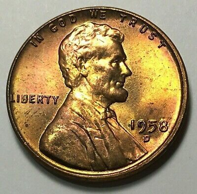 1958 D Lincoln Wheat Cent Free Shipping Lot K03 Uncirculated Coin Red//brown Coin