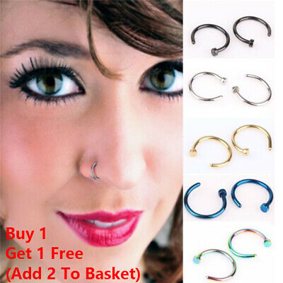 Surgical Steel  Nose Ring Hoop Lip Ring Small Thin Piercing 8 Colour 3 Size