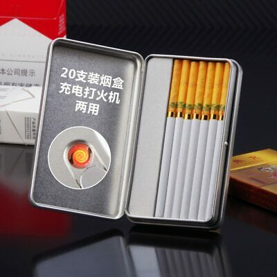Men's Cigarette Box With Lighter Smoking Cigarette Case Creative USB Charging
