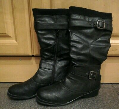 Ladies Lotus Korinna Mid Calf Faux Fur Lined Quality Leather Wedge Boots