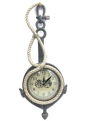 Nautical Rustic Anchor Clock with Rope Trim Antique Style Naval Wall Clock