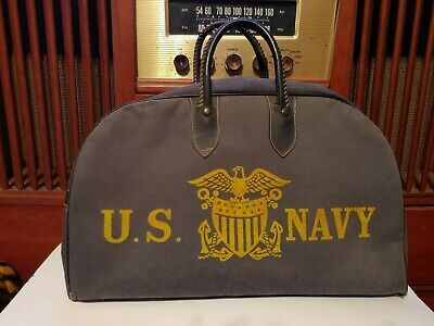 VINTAGE RARE U.S. NAVY CANVAS Duffle BAG USED WITH WEAR AS-IS WWII MILITARY USA
