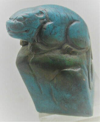 Beautiful Old Near Eastern Blue Stone Seal Stamp With Beast On Top Very Nice