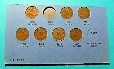 7 Canada Small Cent Coins - 1929, 31, 32, 33, 34, 35, 36