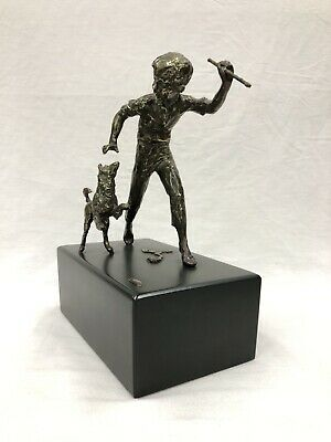 1970 CURTIS JERE Boy with His Dog Bronze Sculpture Figurine on Wood Base NR EXC