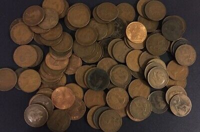100 Pennies coins From 1895-1967 100 coins in this bulk lot