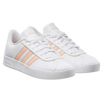 NEW Adidas Originals VL Court 2.0 K Shoes Youth size 12 K White/Pink NIB LACE UP