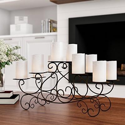 Lavish Home 10 Candle Candelabra with Swirl Design- Handcrafted Iron Candle for
