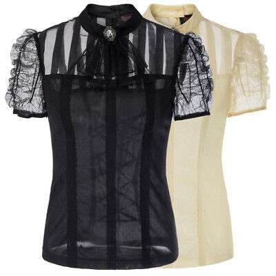 Vintage Womens Sheer Mesh LACE UP Tops Steampunk Victorian Pleated Gothic Blouse