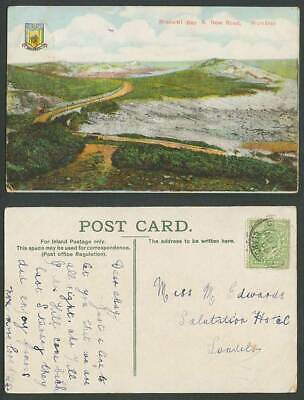 Mumbles Bracelet Bay and New Road Panorama Swansea Arms 1905 Old Colour Postcard