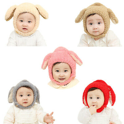 0-1Y Baby Kids Pure Rabbit Ear Cap Boys Girls Fleece Thickened Beanie Hat