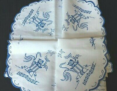 Vintage Linen Willow Hand Embroidered Tablecloth