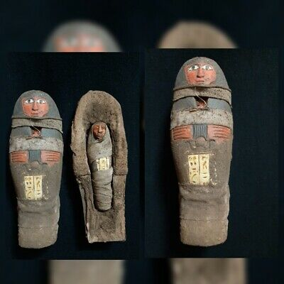 RARE ANTIQUES ANCIENT EGYPTIAN Sarcophagus for Ushabti Servant Scarab 1870-1790
