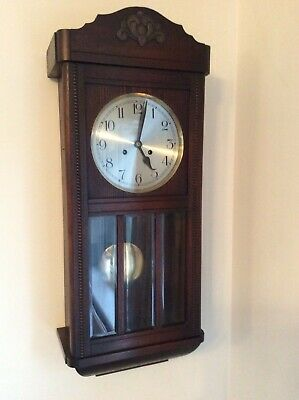 Antique  Oak Wall Clock With Pendulum And Chime.