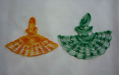2 X Crinoline Lady Crocheted Appliques For Doilies~ Napkins~Aprons~ Vgc